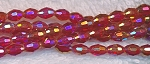 Rice Crystal Beads, RED AB 6x4mm Faceted Olivary