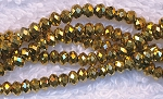 6mm Rondelle Crystal Beads, METALLIC GOLD
