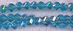 6mm Helix Crystal Beads, Blue Topaz AB Helix Beads