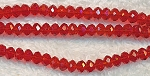 Chinese Crystal Rondelle Bead Strand, RED, 3x4mm