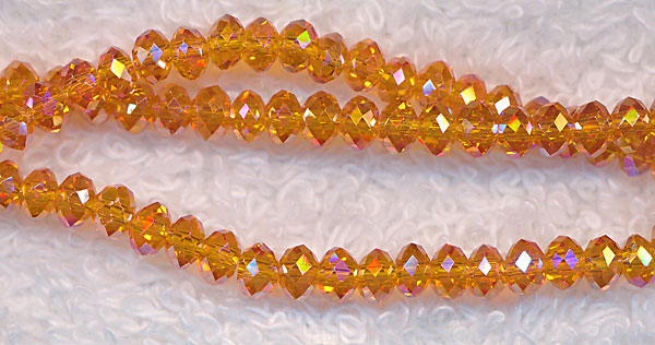 4mm Rondelle Crystal Beads, CANARY ORANGE AB
