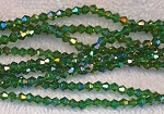 4mm Bicone EMERALD AB Crystal Beads