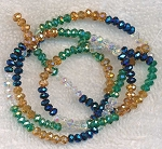 3x4mm Crystal Rondelle Beads Strand, DESIGNER MIX Light Topaz, Teal, Crystal, and Metallic Blue