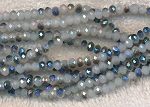 4mm Rondelle Crystal Beads, WHITE METALLIC BLUE Crystal Beads