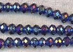 10mm Rondelle Crystal Beads, COBALT SAPPHIRE BLUE AB