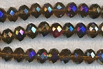 8x10mm Crystal Rondelle Beads Strand, BROWN TOPAZ AB