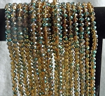 6x8mm Crystal Rondelle Beads Strand, TOPAZ TEAL