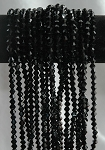 6mm Crystal Bicone Beads Strand, JET BLACK Long Strand