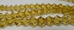 6mm Crystal Bicone Beads Strand, GOLDEN WHEAT