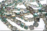 4mm Cube TEAL and PURPLE SHIMMER Crystal Beads