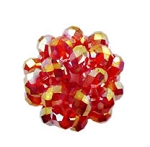 Crystal Beaded Beads, 28mm SIAM RED AB Crystal Ball Beads