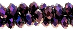 Crystal Beads 4x6mm Metallic Purple Rondelle Beads Strand - CLEARANCE