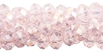 Chinese Crystal Rondelle Bead Strand, LIGHT ROSE AB, 3x4mm