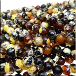 Yellow Fire Agate Beads, 8mm Faceted Round