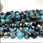 Turquoise Fire Agate Beads 12mm Faceted Round