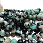 Green Fire Agate Beads, 10mm Faceted Round Beads