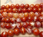 20mm Round Carnelian Fire Agate Beads, Large Round Fire Agate Beads, Full Strand