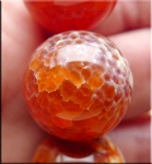Carnelian Fire Agate Focal Pendant Bead, 20mm Round (1)