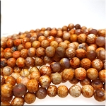 Coral Fire Agate Beads, 6mm Faceted Round Beads