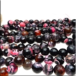 Pink Fire Agate Beads, 10mm Faceted Round Beads