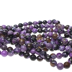 8mm Faceted Round Purple Fire Agate Beads