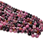 8mm Faceted Round Pink Fire Agate Beads