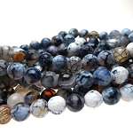 Dragon Vein Agate Beads, 8mm Faceted Round Grey Dragon Vein Fire Agate Beads, Strand