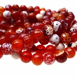 8mm Faceted Round Carnelian Fire Agate Beads Strand