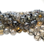 Agate Beads, 8mm Faceted Round Dragon Vein Agate Beads Strand