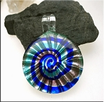 Nautical Pendant, Lampworked Glass Spiral Pendant
