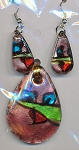 SOLDOUT Glass Focal Pendant and Earrings Set, Teardrop Glass Earrings and Pendant Set