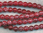 8mm Round Glass Beads, Mottled Maroon Red