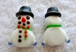 Snowman Beads, Lampworked Glass Bead, Christmas Focal Beads (1)