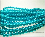 10mm Glass Pearl Round Bead Strand, PEACOCK BLUE AQUAMARINE