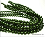 10mm Glass Pearl Round Bead Strand, DARK OLIVE GREEN