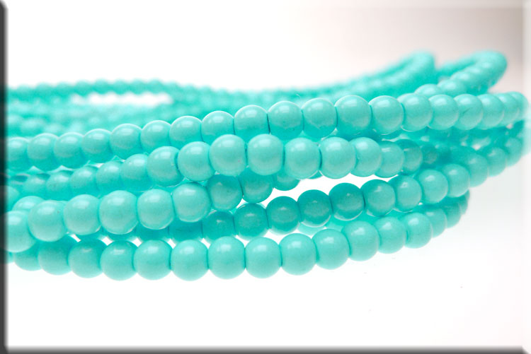 4mm Glass Pearls, LIGHT TURQUOISE Glass Pearls