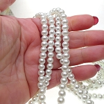 WHITE 6mm Glass Pearl Beads White Glass Pearls Strand