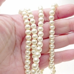 6mm Glass Pearl Round Beads ECRU WHITE Glass Pearls by the Strand