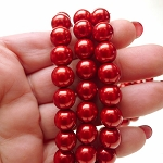 10mm Glass Pearls, RED Glass Pearls