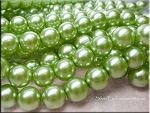 12mm Glass Pearls, CHARTREUSE Glass Pearls
