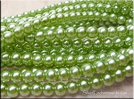 6mm Glass Pearl Round Bead Strand, CHARTREUSE