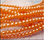 6mm Glass Pearl Round Bead Strand, CORAL PEACH