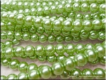 8mm Glass Pearls, CHARTREUSE