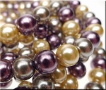 10mm Glass Pearl Round Bead Strand, DESIGNER MIX