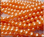 8mm Glass Pearl Round Bead Strand, CORAL PEACH