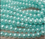8mm Glass Pearl Round Bead Strand, AQUA BLUE
