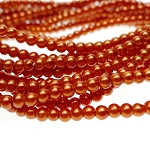 4mm Glass Pearl Round Beads CINNAMON PEACH Glass Pearls by the Strand