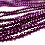 4mm Glass Pearls, ROYAL PLUM PURPLE Glass Pearls