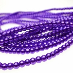 4mm Glass Pearl Round Beads VIBRANT PURPLE Glass Pearls by the Strand