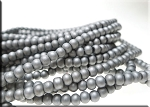 4mm Glass Pearls, MATTE METALLIC SILVER - CLEARANCE